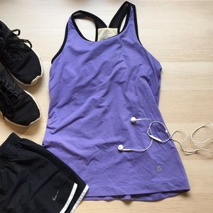 Purple Athletic Tank Top black mesh straps, small